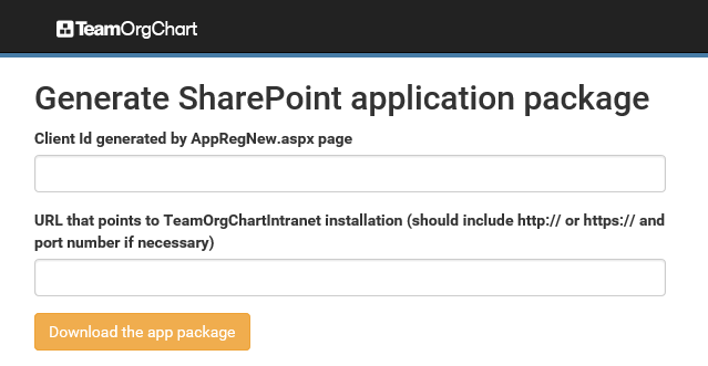 Generate the TeamOrgChart app package
