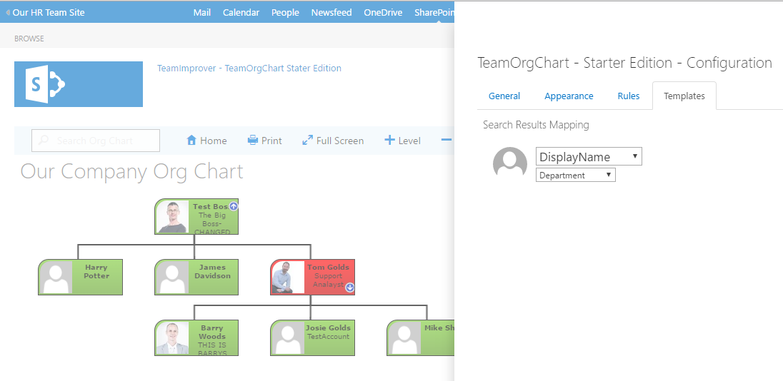 Picking search template fields in TeamOrgChart Starter Edition